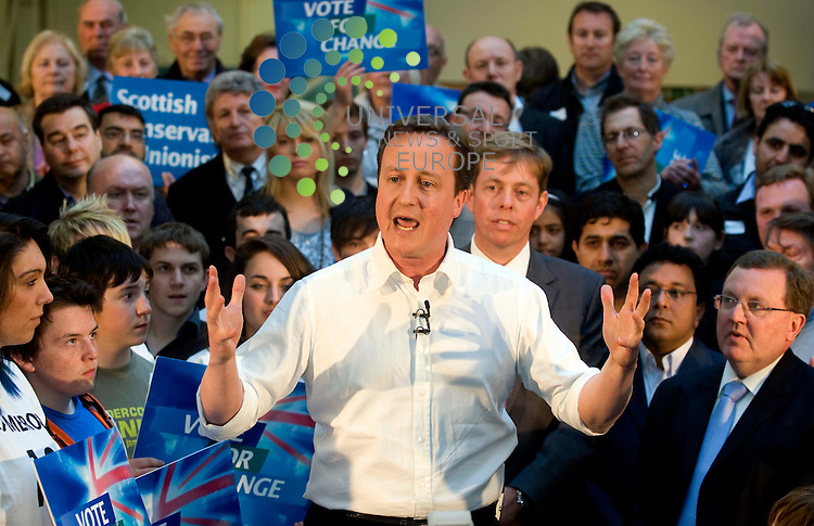 David Cameron during a rally at Linn Products,  for the Scottish Conservative Party for the General Election 2010..4 May 2010 Picture: Maurice McDonald/Universal News And Sport (Europe)...