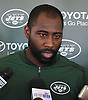 Darrelle Revis #24 of the New York Jets speaks with the media after a day of team training camp at Atlantic Health Jets Training Center in Florham Park, NJ on Wednesday, Aug. 3, 2016.