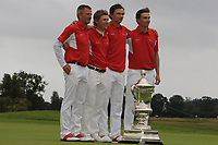 Team Denmark of Torben Henriksen Nyehuus (Captain), John Axelsen, Nicolai Hojgaard and Rasmus Hojgaard are the winners of the Eisenhower Trophy during the WATC 2018 at Carton House, Maynooth, Co. Kildare on Saturday 8th September 2018.<br /> Picture:  Thos Caffrey / www.golffile.ie<br /> <br /> All photo usage must carry mandatory copyright credit (© Golffile | Thos Caffrey)