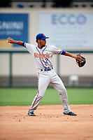 St. Lucie Mets shortstop J.C. Rodriguez (2) throws to first base during the first game of a doubleheader against the Lakeland Flying Tigers on June 10, 2017 at Joker Marchant Stadium in Lakeland, Florida.  Lakeland defeated St. Lucie 6-5 in fourteen innings.  (Mike Janes/Four Seam Images)