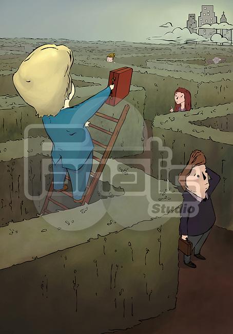 Businessman climbing on the ladder