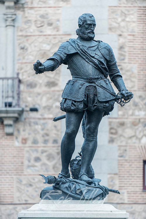 Spain, Madrid, Plaza de la Villa, Bazan Monumnet commemorating the victory of Admiral Don Alvaro de Bazan over the Turkish Ottomans in the naval battle of Lepanto in 1571