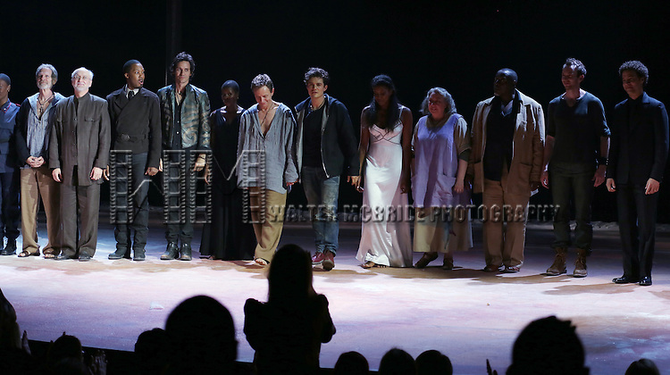 "Orlando Bloom and Condola Rashad with the ensemble cast during the ""Romeo And Juliet"" On Broadway First Performance Curtain Call at the Richard Rodgers Theatre in New York City on 8/24/2013"