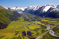 Aerial Portage Valley, Chugach National Forest, Alaska.