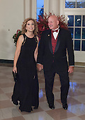Debbie Wasserman Schultz, U.S. Representative( D-FL) and Steve Schultz arrive at the State Dinner for China's President President Xi and Madame Peng Liyuan at the White House in Washington, DC for an official State Visit Friday, September 25, 2015. Credit: Chris Kleponis / CNP