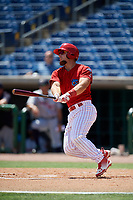 Clearwater Threshers designated hitter Austin Listi (34) follows through on a swing during a game against the Lakeland Flying Tigers on May 2, 2018 at Spectrum Field in Clearwater, Florida.  Clearwater defeated Lakeland 7-5.  (Mike Janes/Four Seam Images)