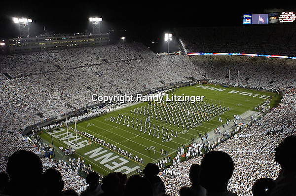 27 September 2008:  The Penn State Blue Band plays the national anthem during the 2nd ever full stadium White Out or white house.  The Penn State Nittany Lions defeated the Illinois Fighting Illini 38-24 September 27, 2008 at Beaver Stadium in State College, PA..