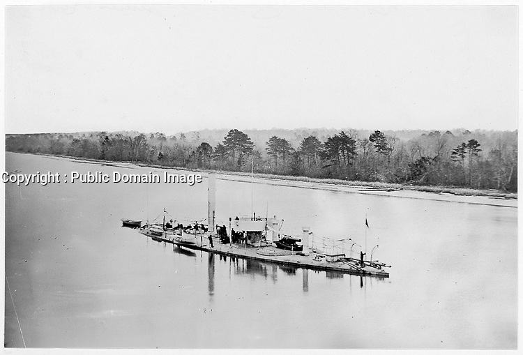 """U.S. Monitor """"Casco"""" on James River, taken from a lookout tower on bank.<br /> <br /> Published 1861Ð65"""