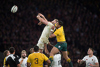 Twickenham, United Kingdom. George KRUIS and Israel FOLAu tangle for teh ball,  and  during the Old Mutual Wealth Series Rest Match: England vs Australia, at the RFU Stadium, Twickenham, England, <br /> <br /> Saturday  03/12/2016<br /> <br /> [Mandatory Credit; Peter Spurrier/Intersport-images]