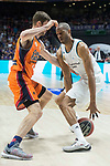 Real Madrid Anthony Randolph and Valencia Basket Aaron Doornekamp during Liga Endesa match between Real Madrid and Valencia Basket at Wizink Center in Madrid , Spain. March 25, 2018. (ALTERPHOTOS/Borja B.Hojas)