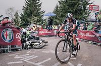 Fabio Aru (ITA/UAE-Emirates) avoiding a crashed moto up the infamous Monte Zoncolan (1735m/11%/10km)<br /> <br /> stage 14 San Vito al Tagliamento &ndash; Monte Zoncolan (186 km)<br /> 101th Giro d'Italia 2018