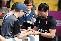 Lincoln City manager Danny Cowley signs autographs during the pre-match warm-up<br /> <br /> Photographer Andrew Vaughan/CameraSport<br /> <br /> The EFL Sky Bet League Two - Lincoln City v Tranmere Rovers - Monday 22nd April 2019 - Sincil Bank - Lincoln<br /> <br /> World Copyright © 2019 CameraSport. All rights reserved. 43 Linden Ave. Countesthorpe. Leicester. England. LE8 5PG - Tel: +44 (0) 116 277 4147 - admin@camerasport.com - www.camerasport.com