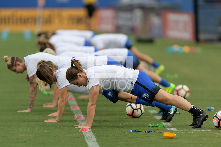 Frisco, TX - Sunday September 03, 2017: Seattle Reign FC warming up during a regular season National Women's Soccer League (NWSL) match between the Houston Dash and the Seattle Reign FC at Toyota Stadium in Frisco Texas. The match was moved to Toyota Stadium in Frisco Texas due to Hurricane Harvey hitting Houston Texas.