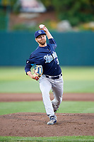 Corpus Christi Hooks relief pitcher Alex Winkelman (32) delivers a pitch during a game against the Springfield Cardinals on May 30, 2017 at Hammons Field in Springfield, Missouri.  Springfield defeated Corpus Christi 4-3.  (Mike Janes/Four Seam Images)