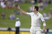1st December 2019, Hamilton, New Zealand;  Matt Henry cathes the ball as he redies to bowl. International test match cricket, New Zealand versus England at Seddon Park, Hamilton, New Zealand. Sunday 1 December 2019.