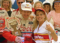 Bill Elliott Victory Lane  trophy Pepsi Firecracker 400 at Daytona International Speedway in Daytona Beach, FL in July 1988. (Photo by Brian Cleary/www.bcpix.com)