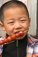 China, Peking (Beijing), Verkauf von kandierten Früchten am Qianhai (vorderer See)