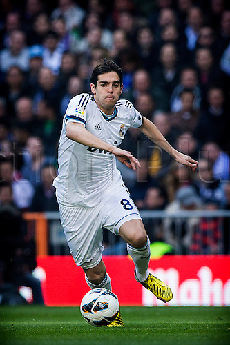 02.03.203 Madrid, Spain. Midfielder Ricardo Kaka of Real Madrid in action during the Spanish La Liga game between Real Madrid and Barcelona from the Santiago Bernabeu.