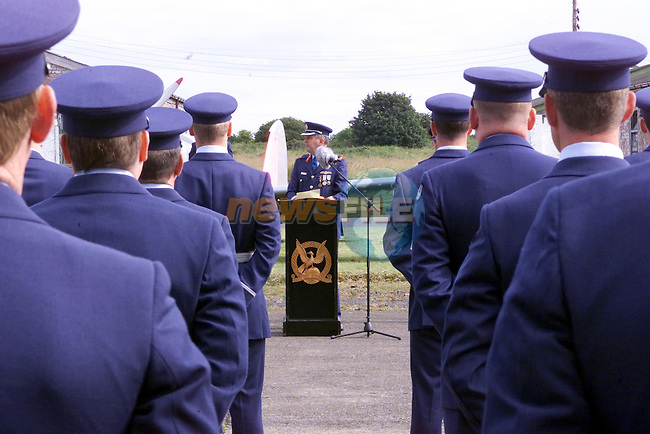 Brigadier General John O'Brien speaking old Chipmonks at the Closing cermony at Gormanstown Aerodrome in Co Meath...Picture Fran Caffrey Newsfile...This Picture is sent to you by:..Newsfile Ltd.The View, Millmount Abbey, Drogheda, Co Louth, Ireland..Tel: +353419871240.Fax: +353419871260.GSM: +353862500958.ISDN: +353419871010.email: pictures@newsfile.ie.www.newsfile.ie