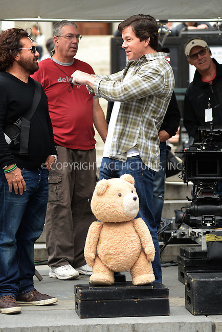 WWW.ACEPIXS.COM<br /> October 7, 2014 New York City<br /> <br /> Ted and Mark Wahlberg filming a scene for Ted 2 at The NY Public Library in Midtown on October 7, 2014 in New York City.<br /> <br /> By Line: Kristin Callahan/ACE Pictures<br /> ACE Pictures, Inc.<br /> tel: 646 769 0430<br /> Email: info@acepixs.com<br /> www.acepixs.com
