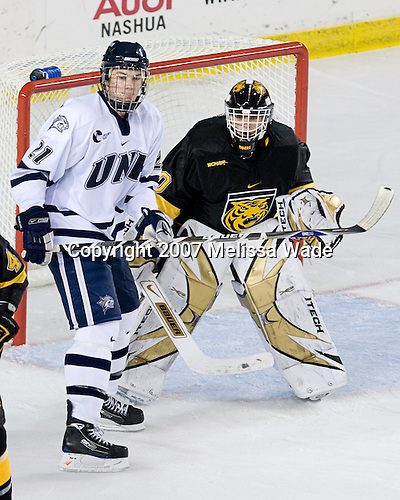 James van Riemsdyk (UNH - 21), Richard Bachman (CC - 30) - The University of New Hampshire Wildcats defeated the Colorado College Tigers 4-2 on Saturday, October 27, 2007, at the Whittemore Center in Durham, New Hampshire.