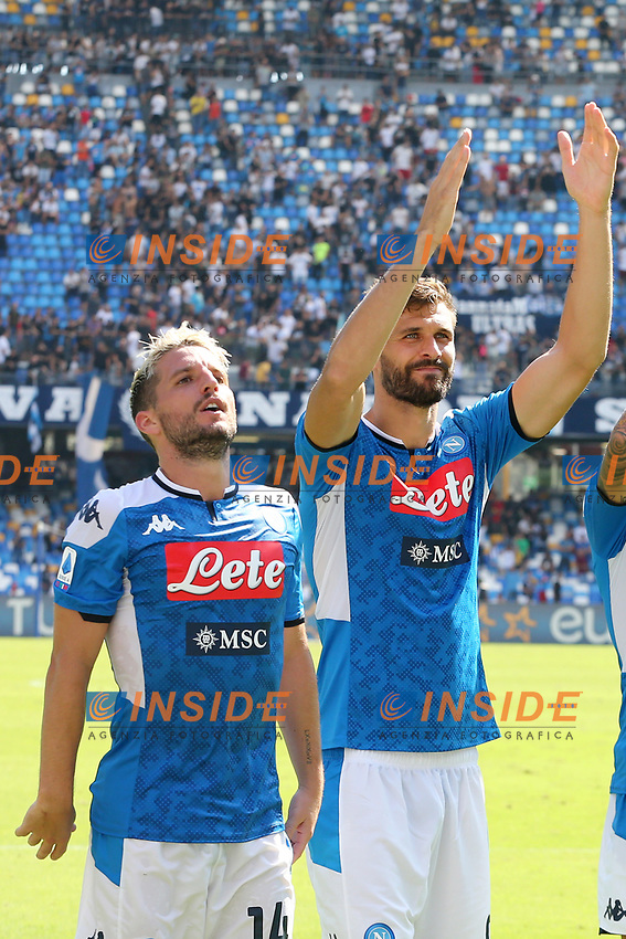 Fernando Llorente of Napoli and Dries Mertens celebrate at the end of the match<br /> Napoli 29-9-2019 Stadio San Paolo <br /> Football Serie A 2019/2020 <br /> SSC Napoli - Brescia FC<br /> Photo Cesare Purini / Insidefoto
