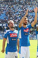 Fernando Llorente of Napoli and Dries Mertens celebrate at the end of the match<br /> Napoli 29-9-2019 Stadio San Paolo <br /> Football Serie A 2019/2020 <br /> SSC Napoli - Brescia FC<br /> Photo Cesare Purini / Insidefoto
