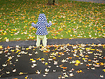 Toddler on wet fall afternoon.