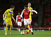 7th December 2017, Emirates Stadium, London, England; UEFA Europa League football, Arsenal versus BATE Borisov; Joe Willock of Arsenal running past Alyaksey Ryas of BATE Borisov