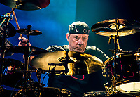 LAS VEGAS, NV - July 25: Neil Peart pictured as RUSH performs at The Grand Garden Arean at MGM Grand Resort in Las Vegas, NV on July 25, 2015. <br /> CAP/MPI/EKP<br /> ©EKP/MPI/Capital Pictures
