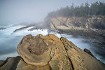Shore Acres State Park, Oregon:<br /> Sandstone concretions and patterns on the cliffs above the coastline