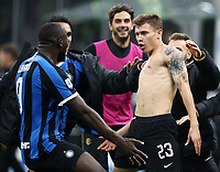 Calcio, Serie A: Inter Milano - Hellas Verona, Giuseppe Meazza stadium, November 9, 2019.<br /> Inter's Nicolò Barella (r) celebrates after scoring with his teammate Romelu Lukaku (l) during the Italian Serie A football match between Inter and Hellas Verona at Giuseppe Meazza (San Siro) stadium, on November 9, 2019.<br /> UPDATE IMAGES PRESS/Isabella Bonotto