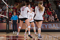 STANFORD, CA - November 15, 2017: Jenna Gray, Audriana Fitzmorris, Meghan McClure at Maples Pavilion. The Stanford Cardinal defeated USC 3-0 to claim the Pac-12 conference title.