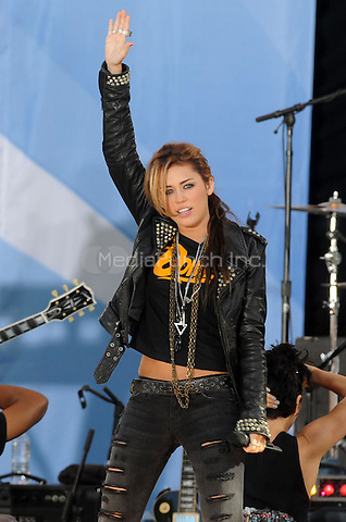 Miley Cyrus performs on ABC's 'Good Morning America' at Rumsey Playfield, Central Park  in New York City. June 18, 2010. Credit: Dennis Van Tine/MediaPunch