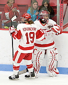 Jenelle Kohanchuk (BU - 19), Kerrin Sperry (BU - 1) - The Boston University Terriers defeated the visiting Harvard University Crimson 2-1 on Sunday, November 18, 2012, at Walter Brown Arena in Boston, Massachusetts.