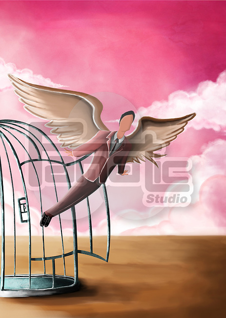 Illustrative image of businessman flying out from cage representing freedom