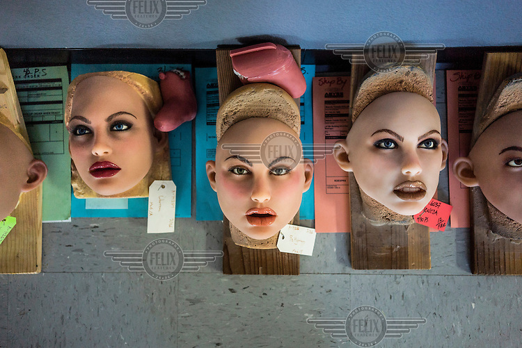 The heads of sex dolls lie on the floor inside the San Marcos headquarters of Real Dolls. The Real Doll is a high-end sex doll created by Matt McMullen. Mr McMullen is now trying to combine different technologies to make a sex robot. He is experimenting with Artificial Intelligence, Virtual Reality and Animatronics.