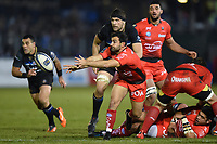 Eric Escande of RC Toulon passes the ball. European Rugby Champions Cup match, between Bath Rugby and RC Toulon on December 16, 2017 at the Recreation Ground in Bath, England. Photo by: Patrick Khachfe / Onside Images