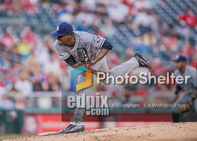 23 July 2016: San Diego Padres starting pitcher Edwin Jackson on the mound against the Washington Nationals at Nationals Park in Washington, DC. The Nationals defeated the Padres 3-2 to tie their series at one game apiece. Mandatory Credit: Ed Wolfstein Photo *** RAW (NEF) Image File Available ***