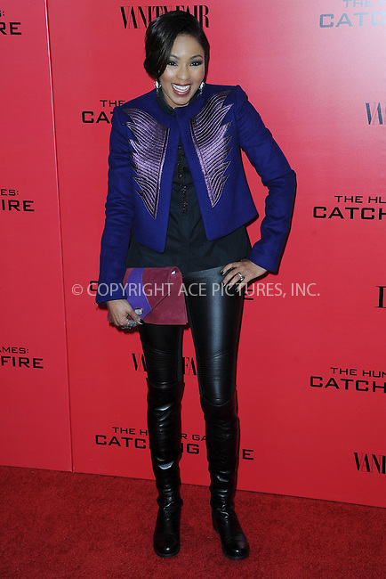 WWW.ACEPIXS.COM<br /> November 20, 2013...New York City<br /> <br /> Alicia Quarles attending a premiere of 'The Hunger Games: Catching Fire' on November 20, 2013 in New York City.<br /> <br /> Byline: Kristin Callahan/Ace Pictures<br /> <br /> ACE Pictures, Inc.<br /> tel: 646 769 0430<br />       212 243 8787<br /> e-mail: info@acepixs.com<br /> web: http://www.acepixs.com