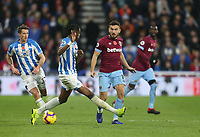 West Ham United's Robert Snodgrass and Huddersfield Town's Terence Kongolo<br /> <br /> Photographer Rob Newell/CameraSport<br /> <br /> The Premier League - Huddersfield Town v West Ham United - Saturday 10th November 2018 - John Smith's Stadium - Huddersfield<br /> <br /> World Copyright © 2018 CameraSport. All rights reserved. 43 Linden Ave. Countesthorpe. Leicester. England. LE8 5PG - Tel: +44 (0) 116 277 4147 - admin@camerasport.com - www.camerasport.com
