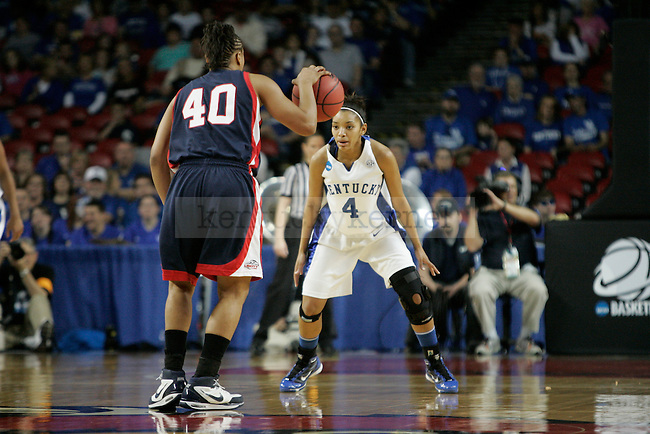UK sophomore guard Keyla Snowden guards Liberty's Devon Brown at Freedom Hall on Saturday, March 20, 2010. The cats defeated the flames 83-77 in the opening round game of the NCAA tournament. Photo by Scott Hannigan | Staff
