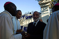 Port Au Prince, Haiti, Jan 23 2010.The funeral of Mgr. Miot, Archibishop Metropolitain of Port au Prince and of his First Vicar, Mgr. Benoit are taking place in front of the collapsed Cathedrale Notre-Dame in the presence of President Préval and his wife, ministers, members of parliament, as well as many other Haitian and International dignitaries..
