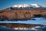 A winter reflection of Mt Katahdin in Baxter State Park, ME, USA