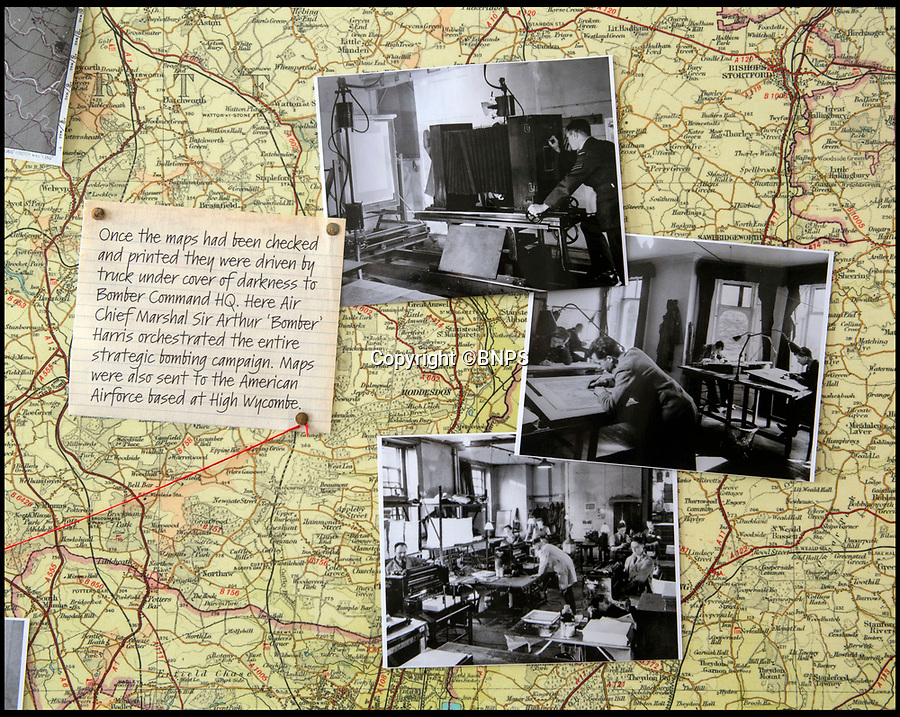 BNPS.co.uk (01202 558833)<br /> Pic: PhilYeomans/BNPS<br /> <br /> Maps were drawn, checked and printed at the Manor before being dispatched to Bomber Command and the frontline airfields. <br /> <br /> Secret rooms at a stately home where brilliant map-makers played a pivotal role in helping Britain to win the war have been opened to the public for the first time.<br /> <br /> Hughenden Manor, in Bucks, once home to the Victorian prime minster Benjamin Disraeli, was requisitioned by the Air Ministry in 1941 and given the codename 'Hillside'.<br /> <br /> In its confines, more than 3,500 hand drawn maps were produced for the RAF bombing campaigns, including the legendary Dambusters Raid and a raid on the Berchtesgaden, Hitler's famous mountain retreat.<br /> <br /> Previously hidden away under lock and key, these rooms have been opened for the first time for a permanent display featuring photographs, records and testimonies from some of the 100 men and women who were based there in World War Two.<br /> <br /> Since they were sworn to silence under the Official Secrets Act, Hillside's crucial wartime role in fact remained unknown until 2004, when a volunteer room guide overheard Victor Gregory, a visitor to the National Trust property, tell his grandson that he was stationed there during the war.