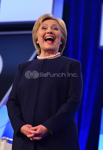 MIAMI, FL - MARCH 09: Hillary Clinton pictured during the Univision News and Washington Post Democratic Presidential Primary Debate sanctioned by the Democratic National Committee at Miami Dade College on March 9, 2016 in Miami, Florida. Credit: mpi10/MediaPunch