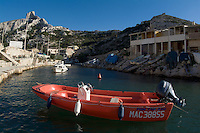 Motorboat in the small fishing village of Callelongue, Marseille, France.