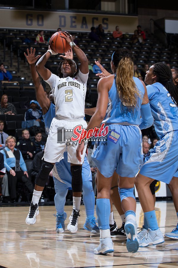 Amber Campbell (2) of the Wake Forest Demon Deacons goes up for a shot during first half action against the North Carolina Tar Heels at the LJVM Coliseum on January 21, 2016 in Winston-Salem, North Carolina.  The Demon Deacons defeated the Tar Heels 75-63.  (Brian Westerholt/Sports On Film)
