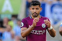 Sergio Aguero of Manchester City (10) frustrated   during the EPL - Premier League match between Brighton and Hove Albion and Manchester City at the American Express Community Stadium, Brighton and Hove, England on 12 August 2017. Photo by Edward Thomas / PRiME Media Images.