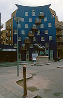 London:  Docklands, The Circle, Queen Elizabeth St., Bermondsey.  Site of Old Charrington Brewery. Blue-glazed tile.  Photo '90.